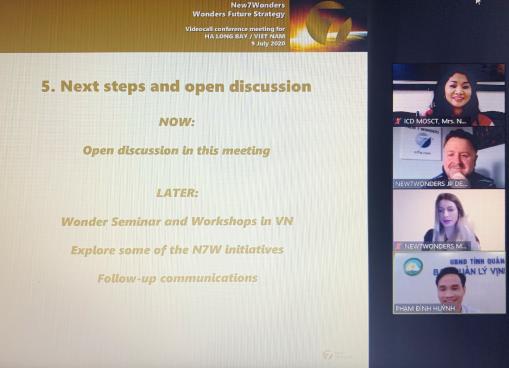 Cục trưởng Cục Hợp tác quốc tế họp trực tuyến với Tổ chức New 7 Wonders