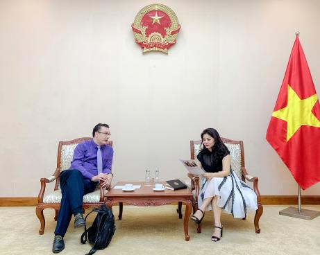 Cục trưởng Cục Hợp tác quốc tế tiếp Ông Etienne  Rolland-Piegue, Tham tán Văn hóa và hợp tác, Đại sứ quán Pháp tại Việt Nam