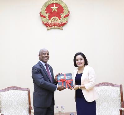 Thứ trưởng Trịnh Thị Thủy tiếp Đại sứ Botswana đến chào xã giao