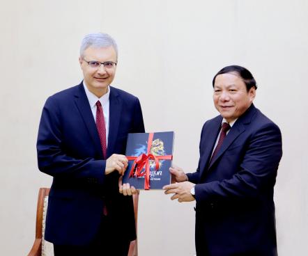 Bộ trưởng Nguyễn Văn Hùng tiếp Đại sứ Cộng hòa Pháp tại Việt Nam